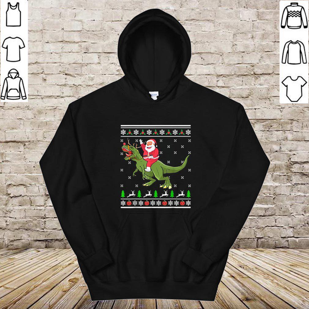 Awesome Santa Riding Dino Christmas Ugly Sweater Dinosaur T-rex Gift shirt