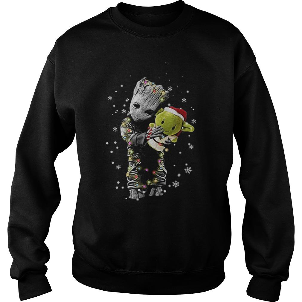 Baby Groot hugging baby Yoda Christmas  Sweatshirt
