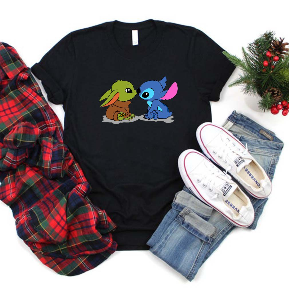 Baby Yoda and baby Stitch shirt