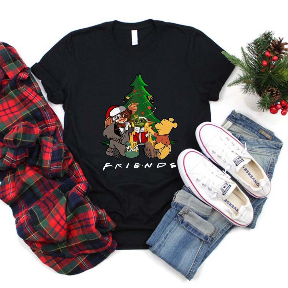 Baby Yoda Gizmo and Pooh Christmas Tree Shirt