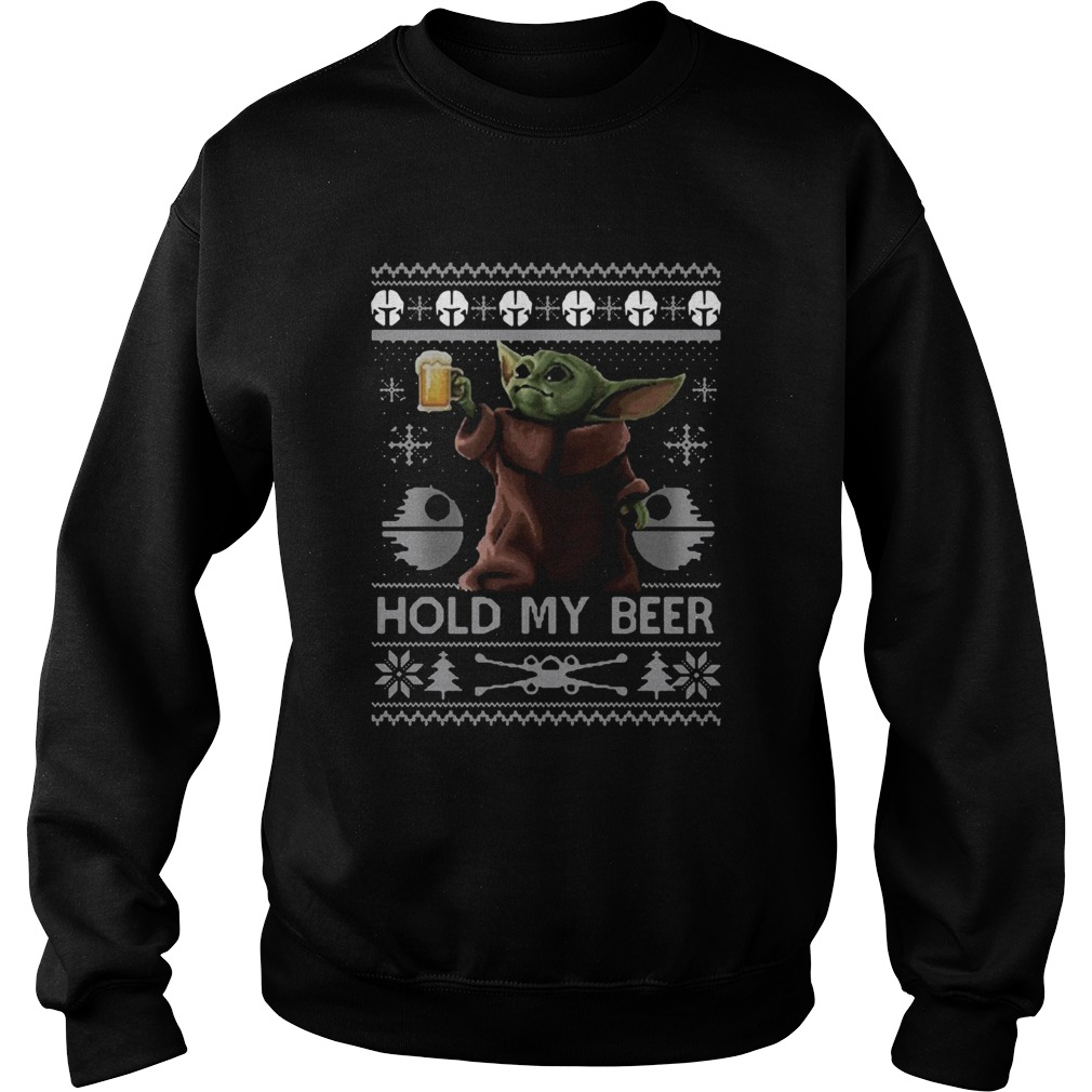 Baby Yoda Hold My Beer Ugly Christmas  Sweatshirt