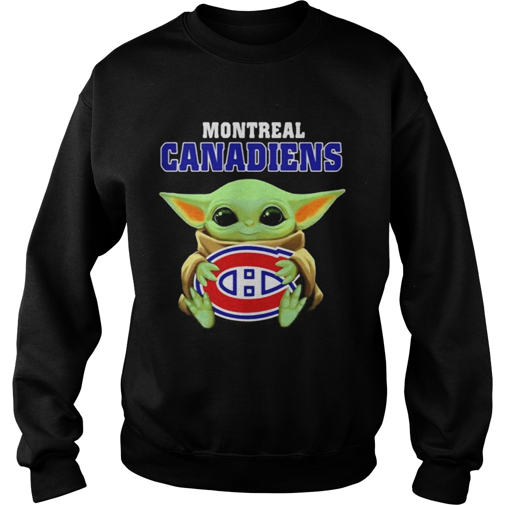 Baby Yoda hug ball Montreal Canadiens  Sweatshirt