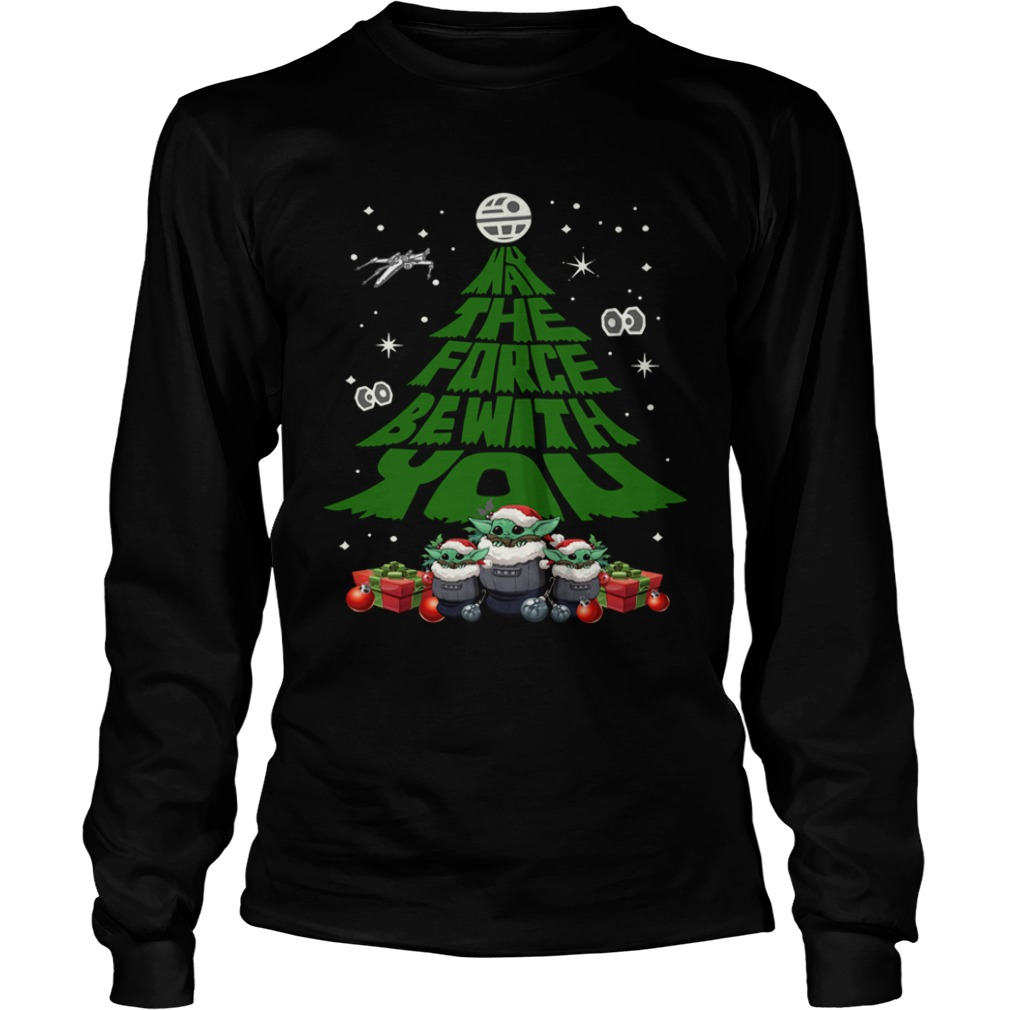 Baby Yoda May The Force Be With With You Christmas Tree  LongSleeve