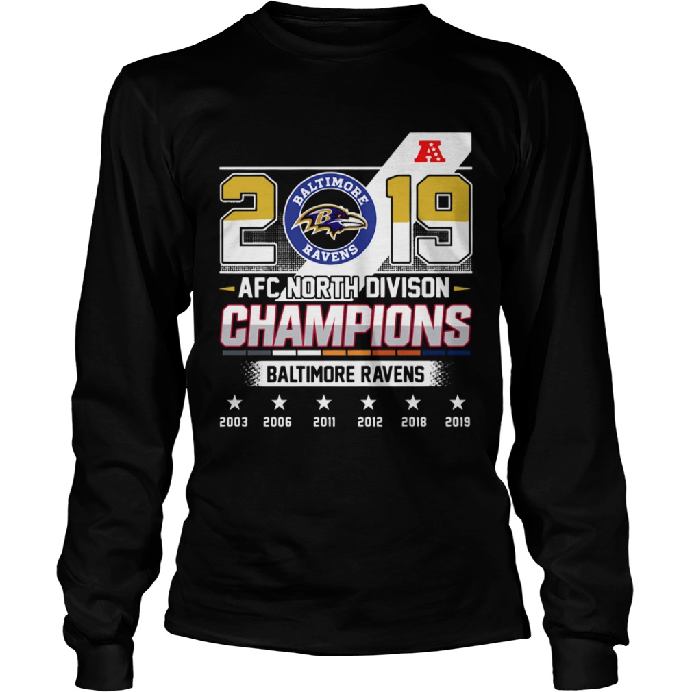 Baltimore Ravens Afc North Division Champions 2019  LongSleeve