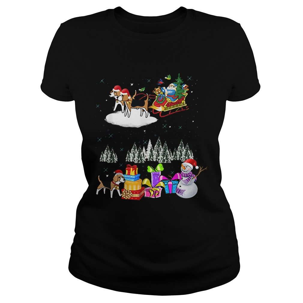 Beagle Reindeer Christmas santa dog moon  Classic Ladies