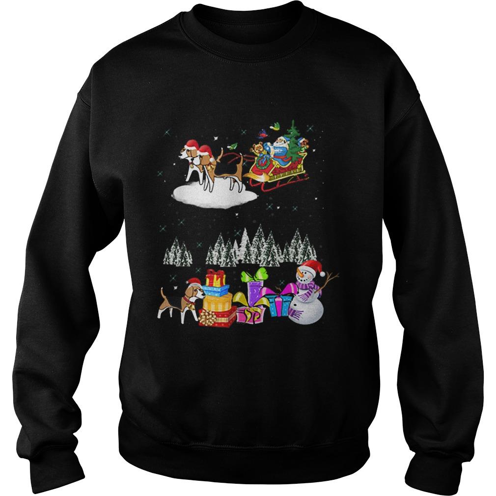 Beagle Reindeer Christmas santa dog moon  Sweatshirt