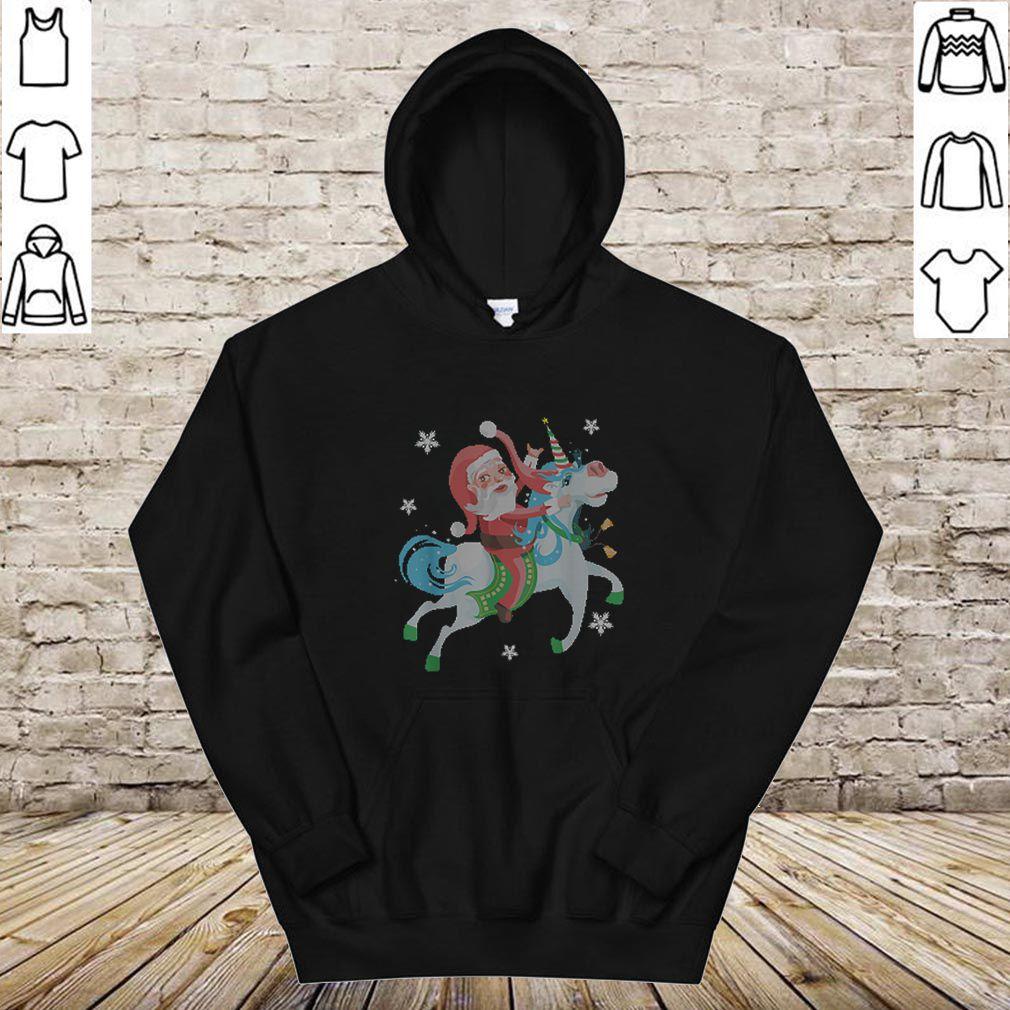 Beautiful Funny Christmas Gift Santa Riding Unicorn Funny Christmas shirt