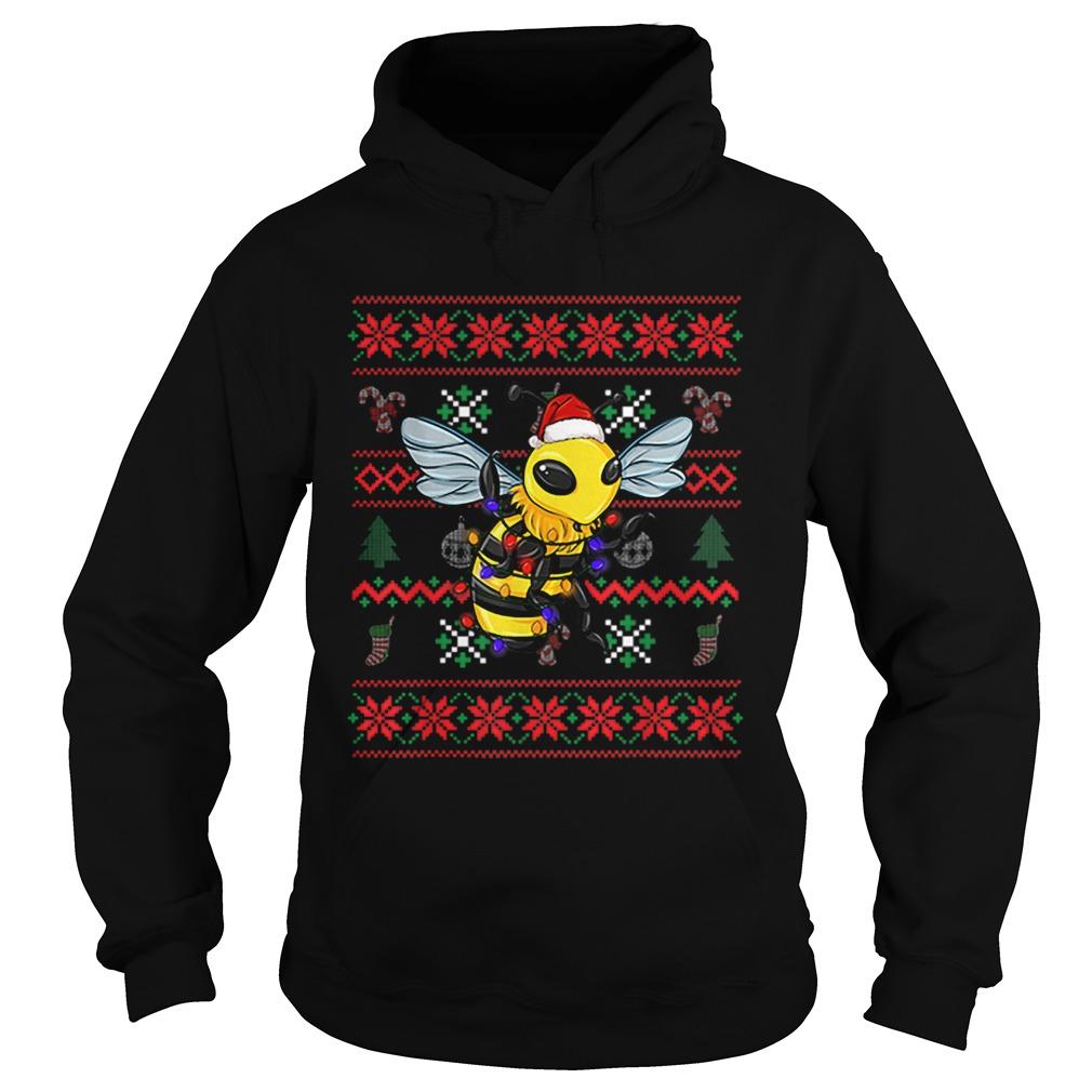 Bee Ugly Christmas Bee Santa Hat  Hoodie