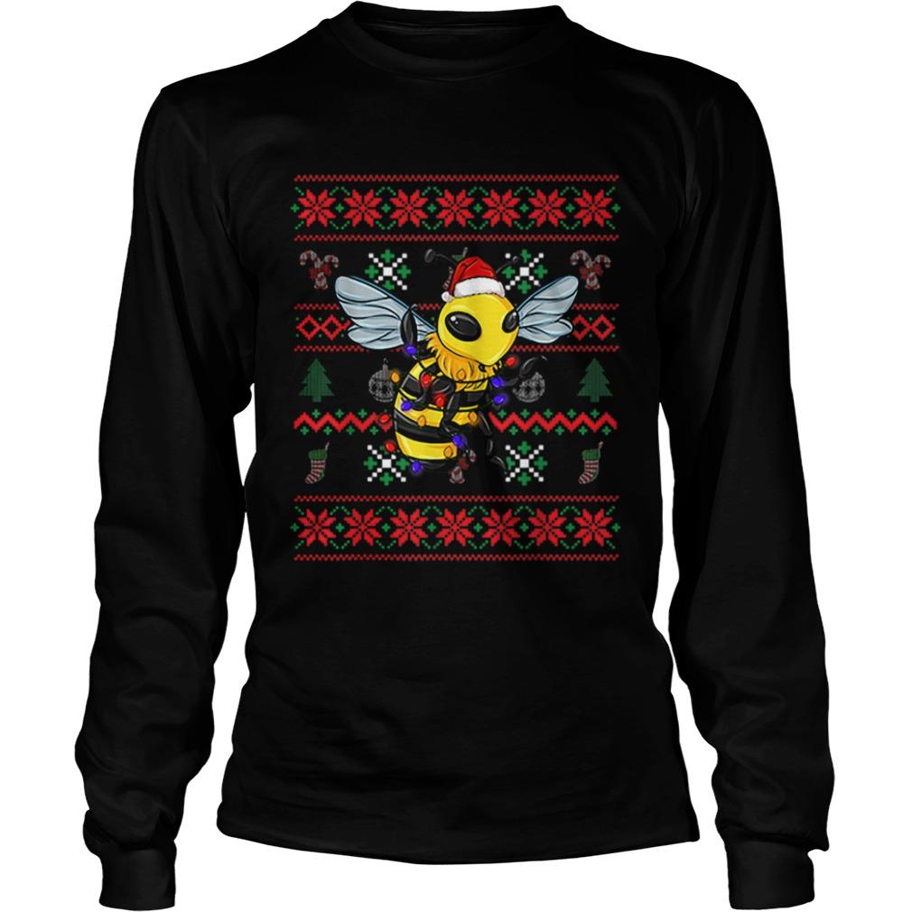 Bee Ugly Christmas Bee Santa Hat  LongSleeve