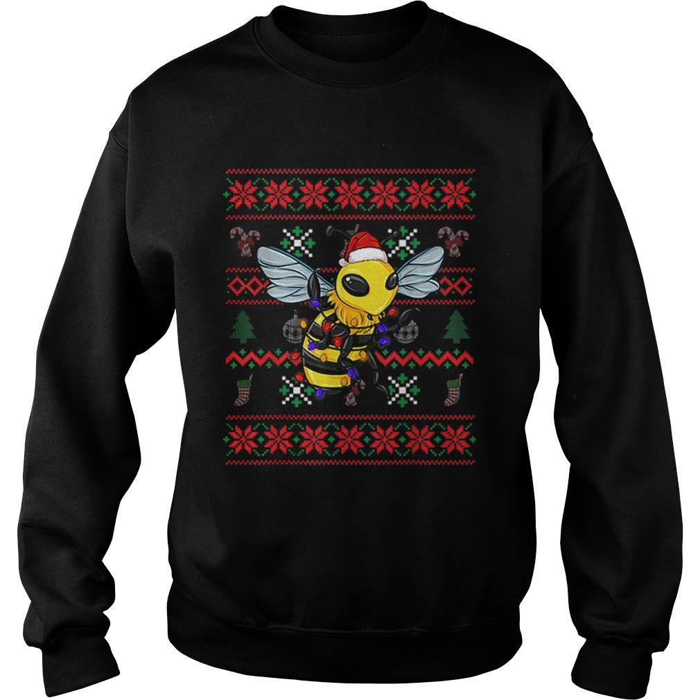 Bee Ugly Christmas Bee Santa Hat  Sweatshirt