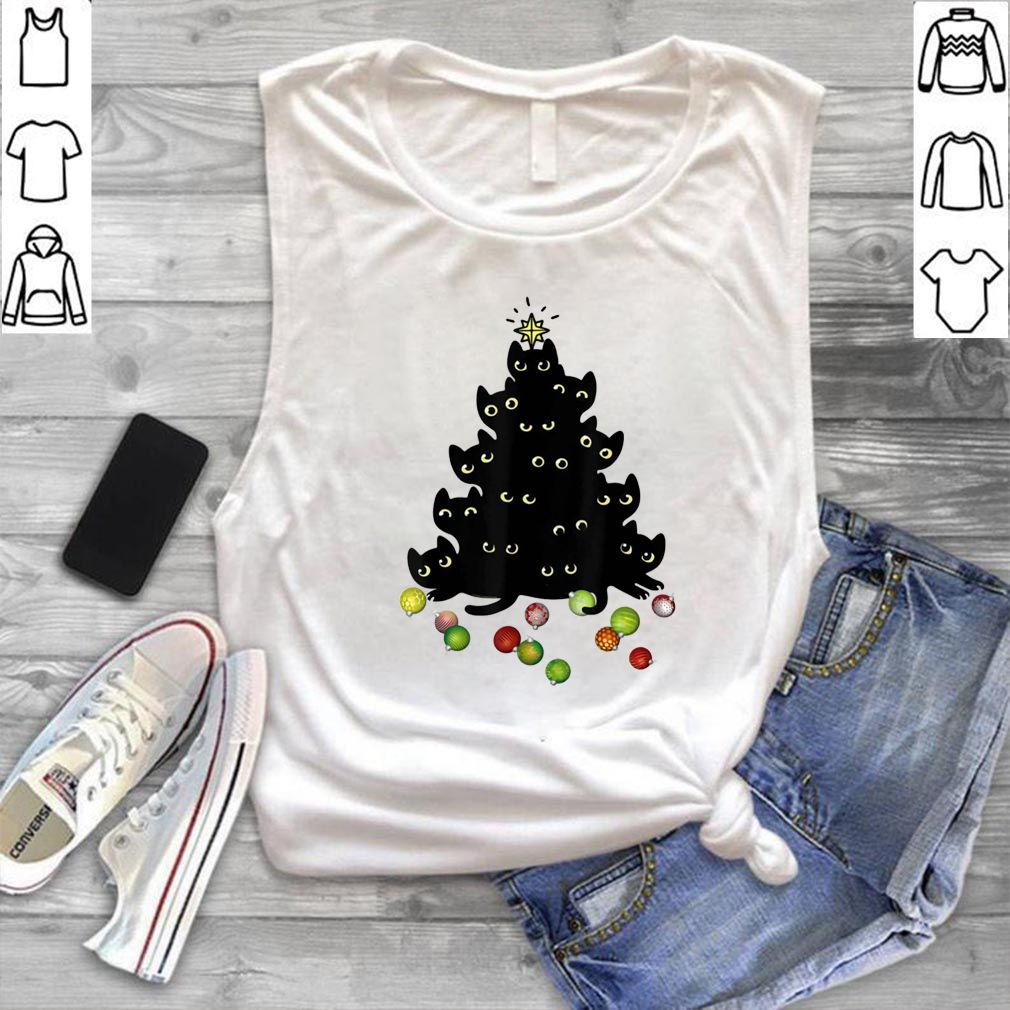 Black Cat Lovers Holiday Tree shirt