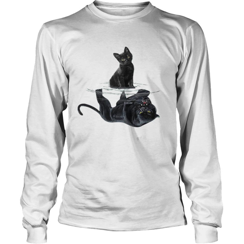 Black cat water mirror reflection black panther  LongSleeve