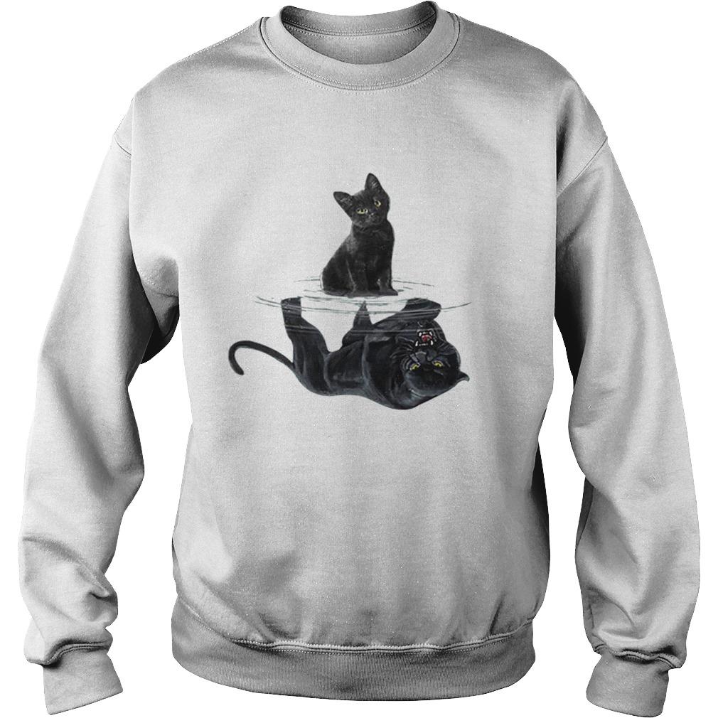 Black cat water mirror reflection black panther  Sweatshirt