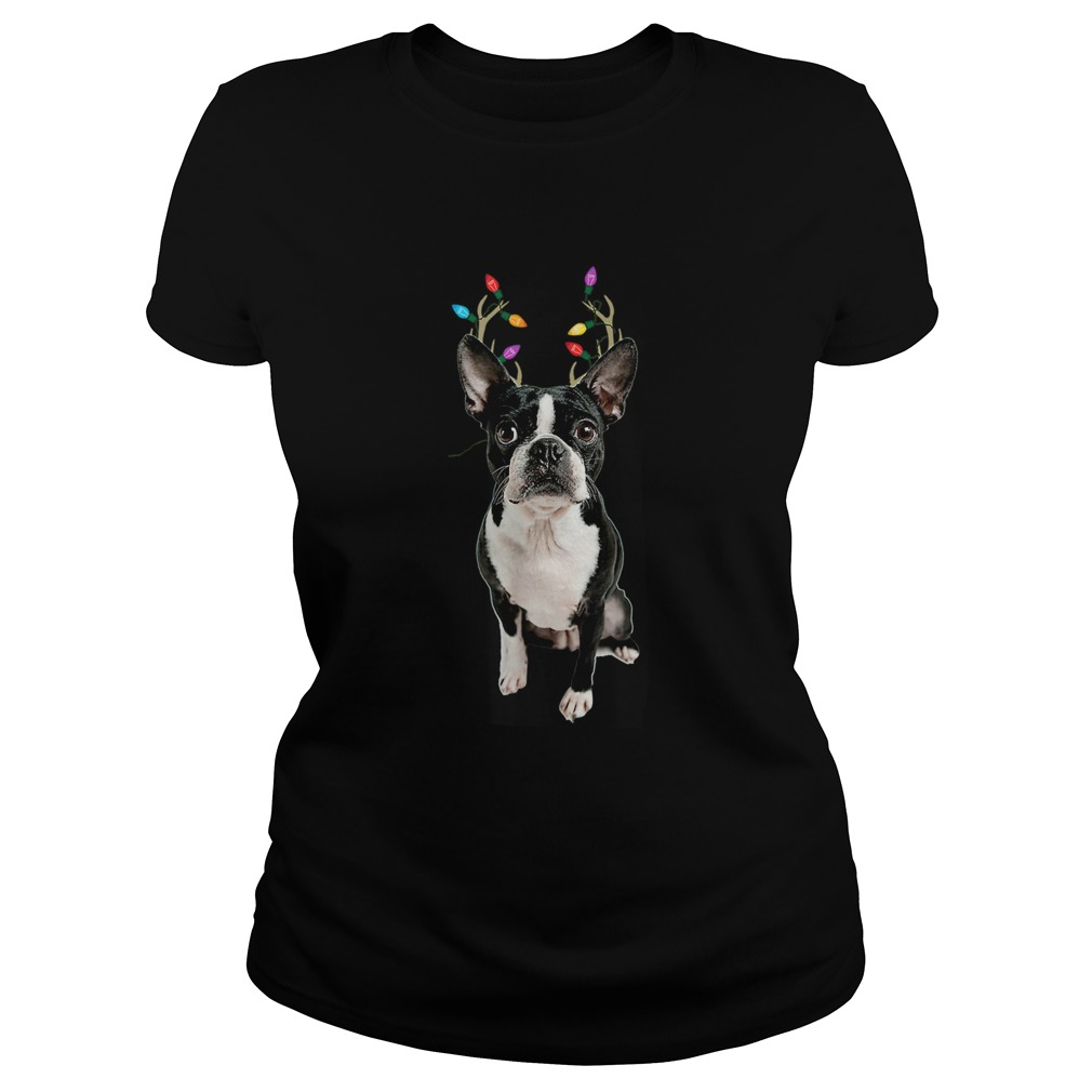 Boston Terrier Reindeer Christmas Dog  Classic Ladies