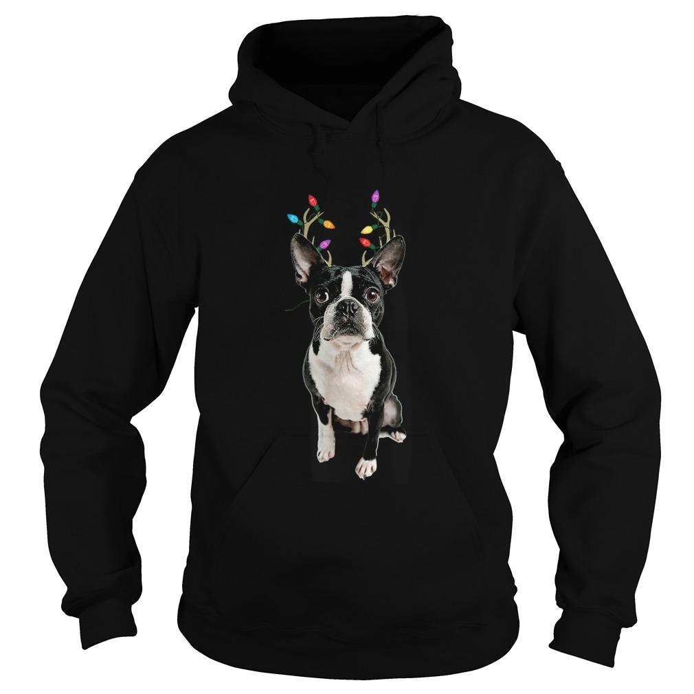 Boston Terrier Reindeer Christmas Dog  Hoodie