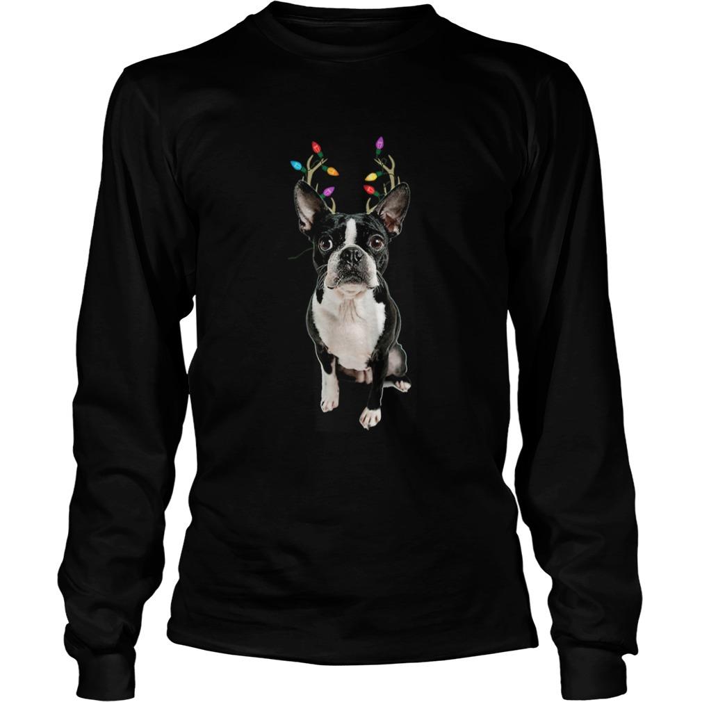 Boston Terrier Reindeer Christmas Dog  LongSleeve