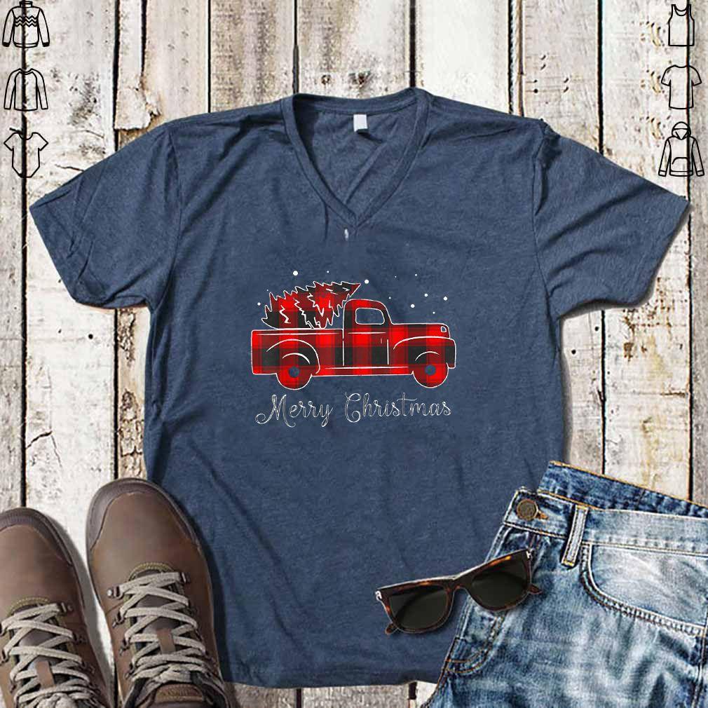 Buffalo Plaid Christmas Tree Red Truck T Shirt