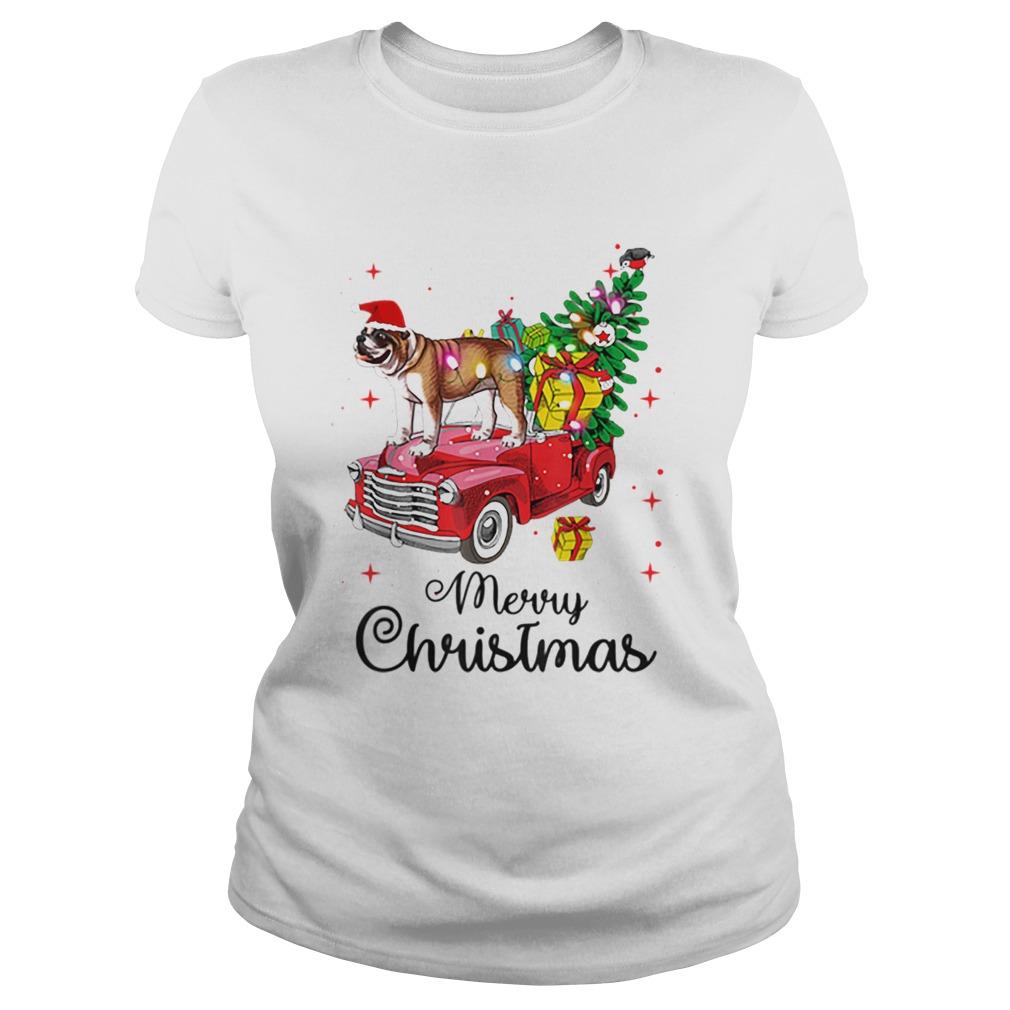 Bulldog Rides Red Truck Christmas Pajama  Classic Ladies