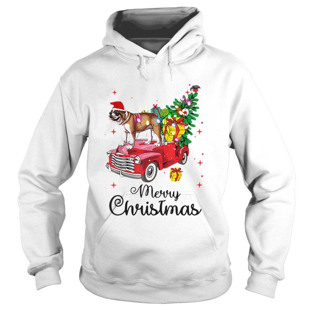 Bulldog Rides Red Truck Christmas Pajama  Hoodie
