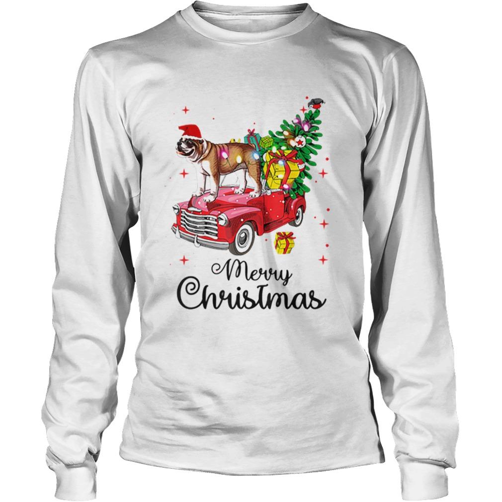 Bulldog Rides Red Truck Christmas Pajama  LongSleeve