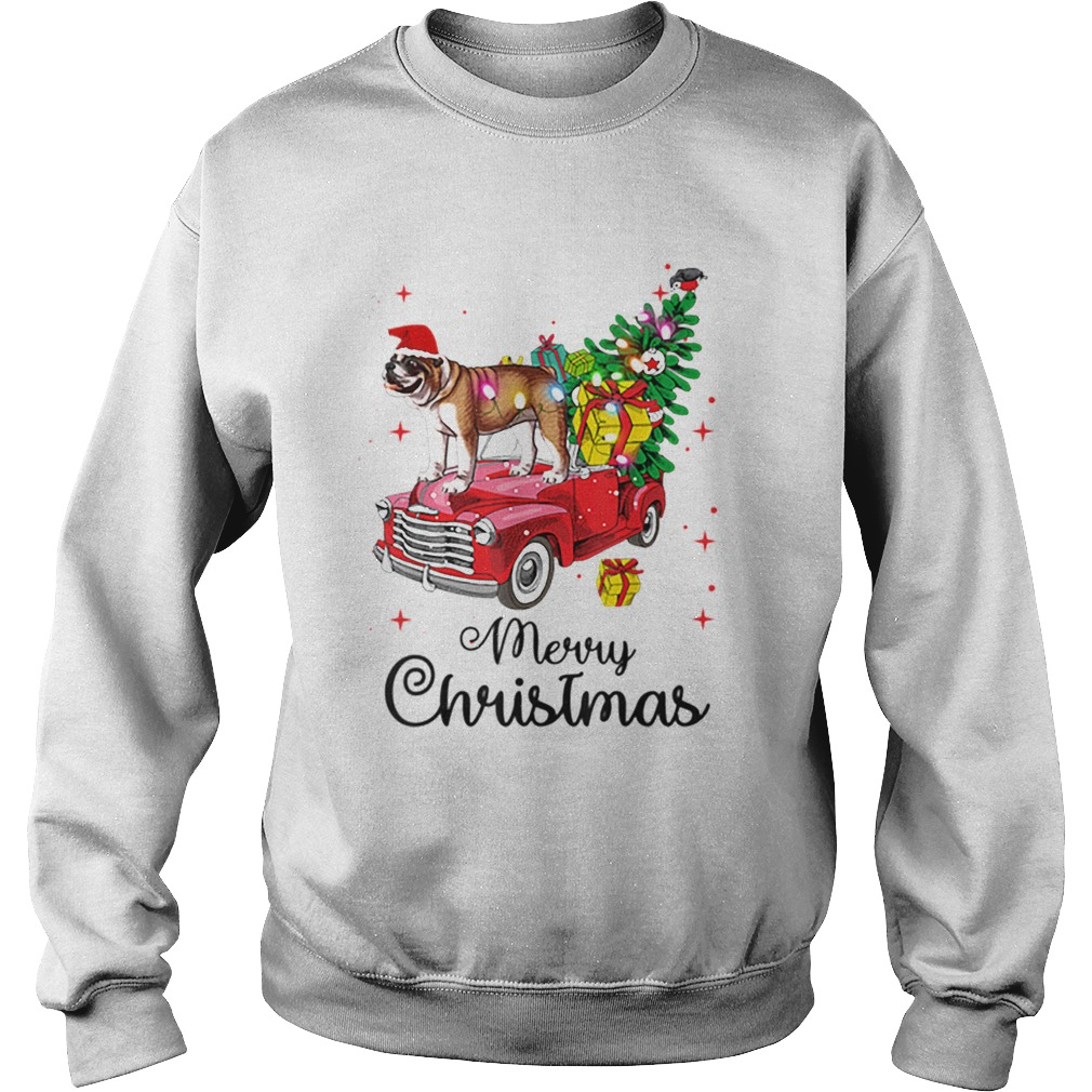 Bulldog Rides Red Truck Christmas Pajama  Sweatshirt
