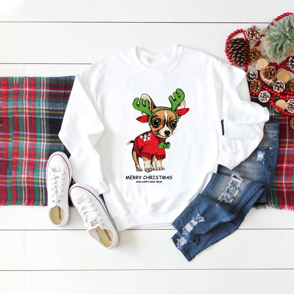 Chihuahua Reindeer Merry Christmas and Happy New Year shirt