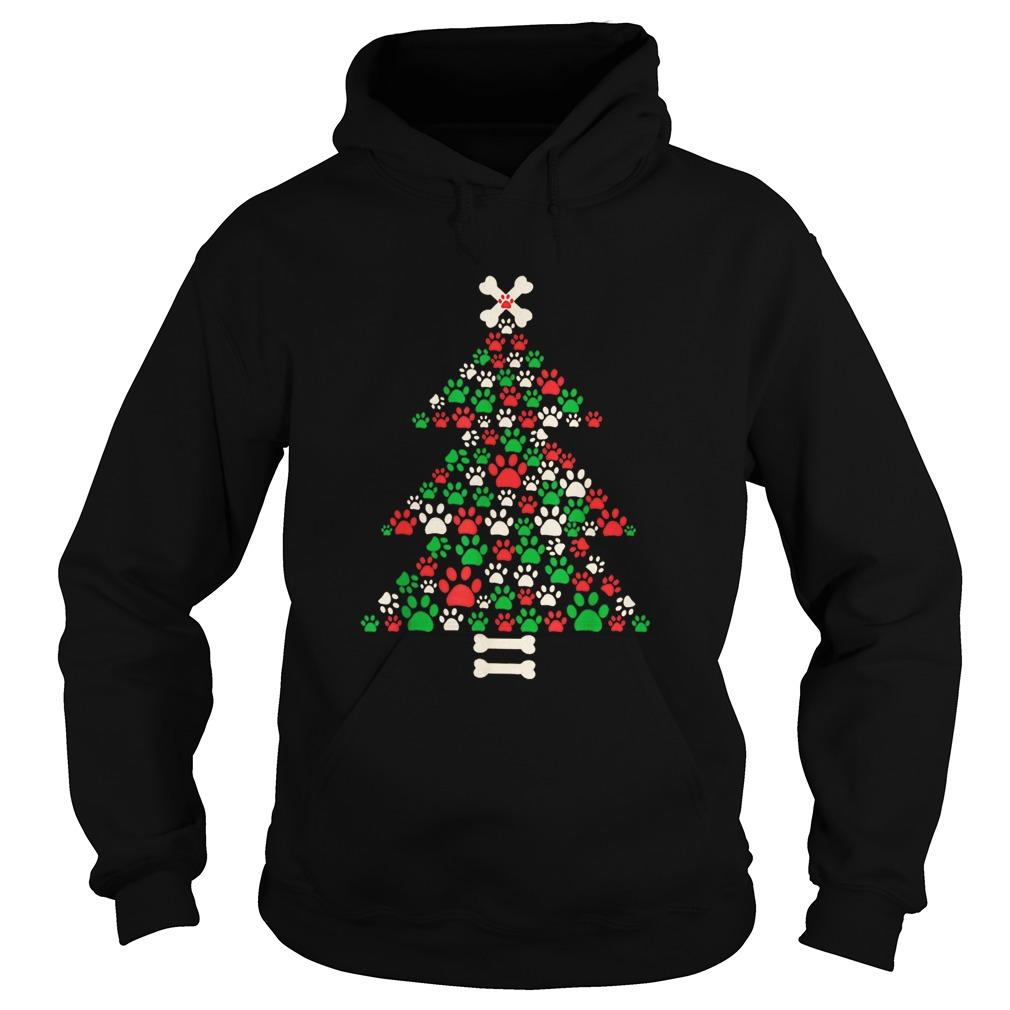 Christmas Tree Made Of Bones And Paw Prints  Hoodie