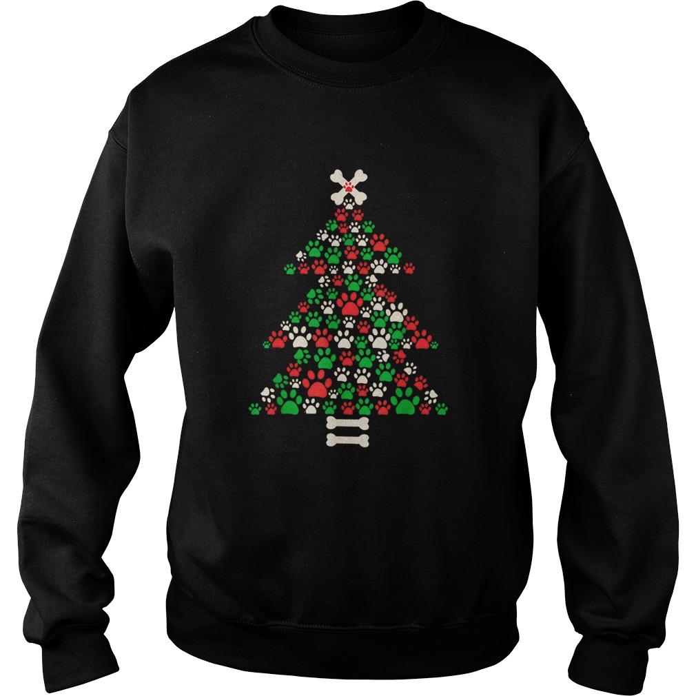 Christmas Tree Made Of Bones And Paw Prints  Sweatshirt