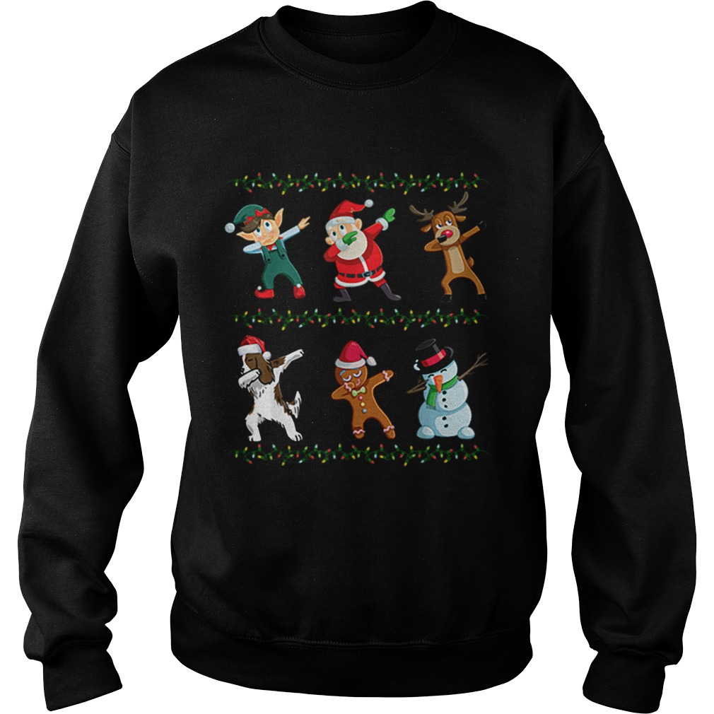 Dabbing Santa Springer Spaniel And Friends Christmas  Sweatshirt
