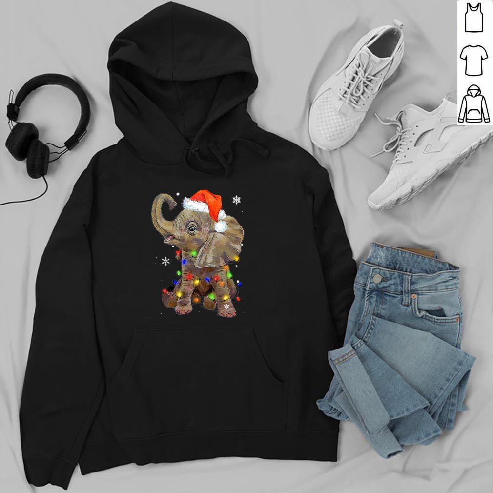 Elephant santa Christmas light shirt