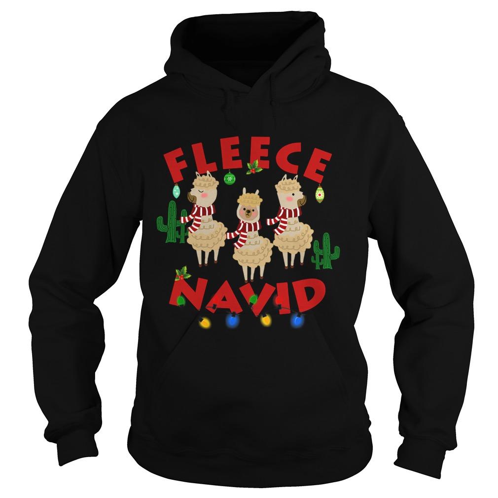 Fleece Navidad Llama Christmas Lights  Hoodie