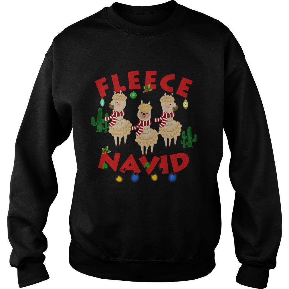 Fleece Navidad Llama Christmas Lights  Sweatshirt