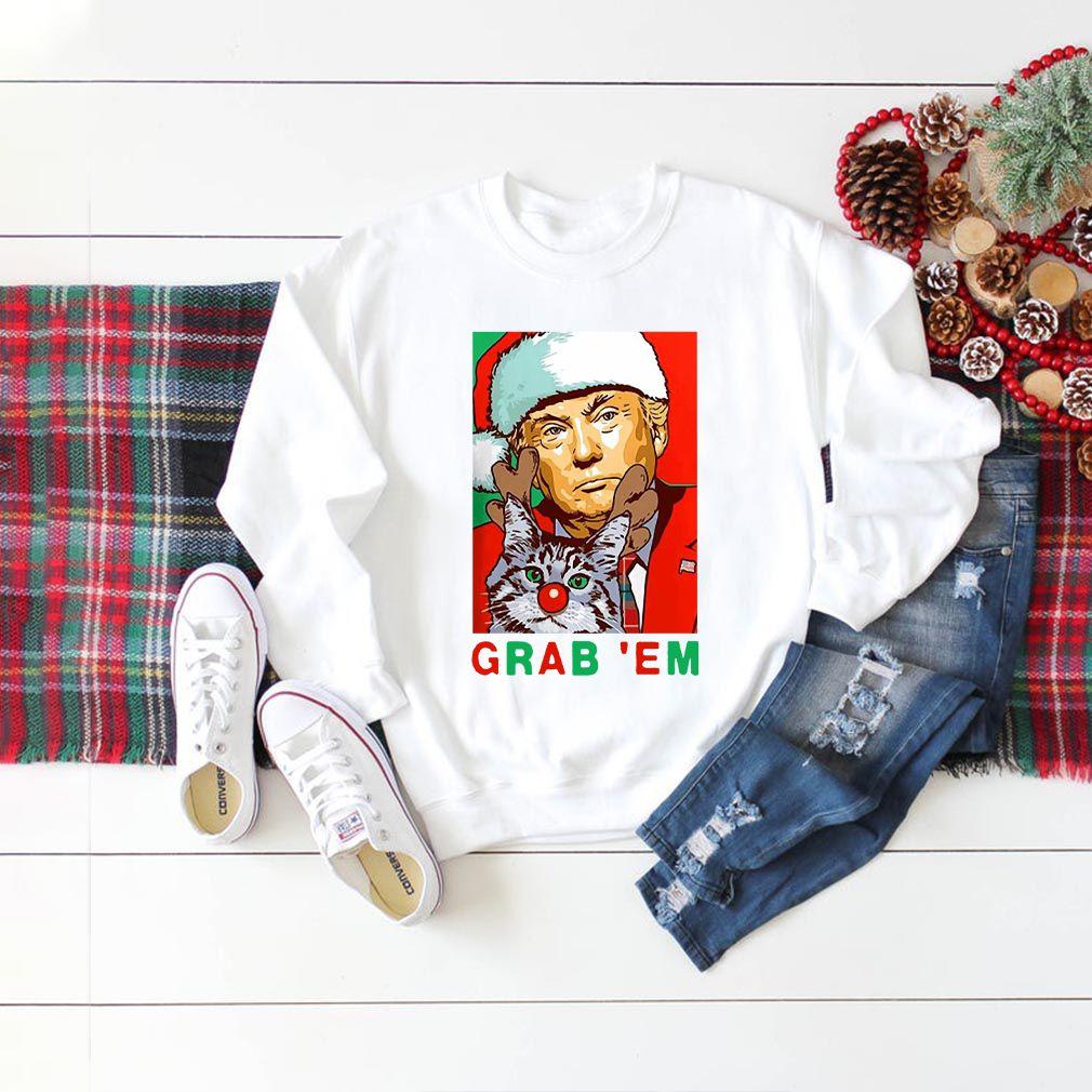 Grab' Em Donald Trump Santa Christmas with Cat Shirts