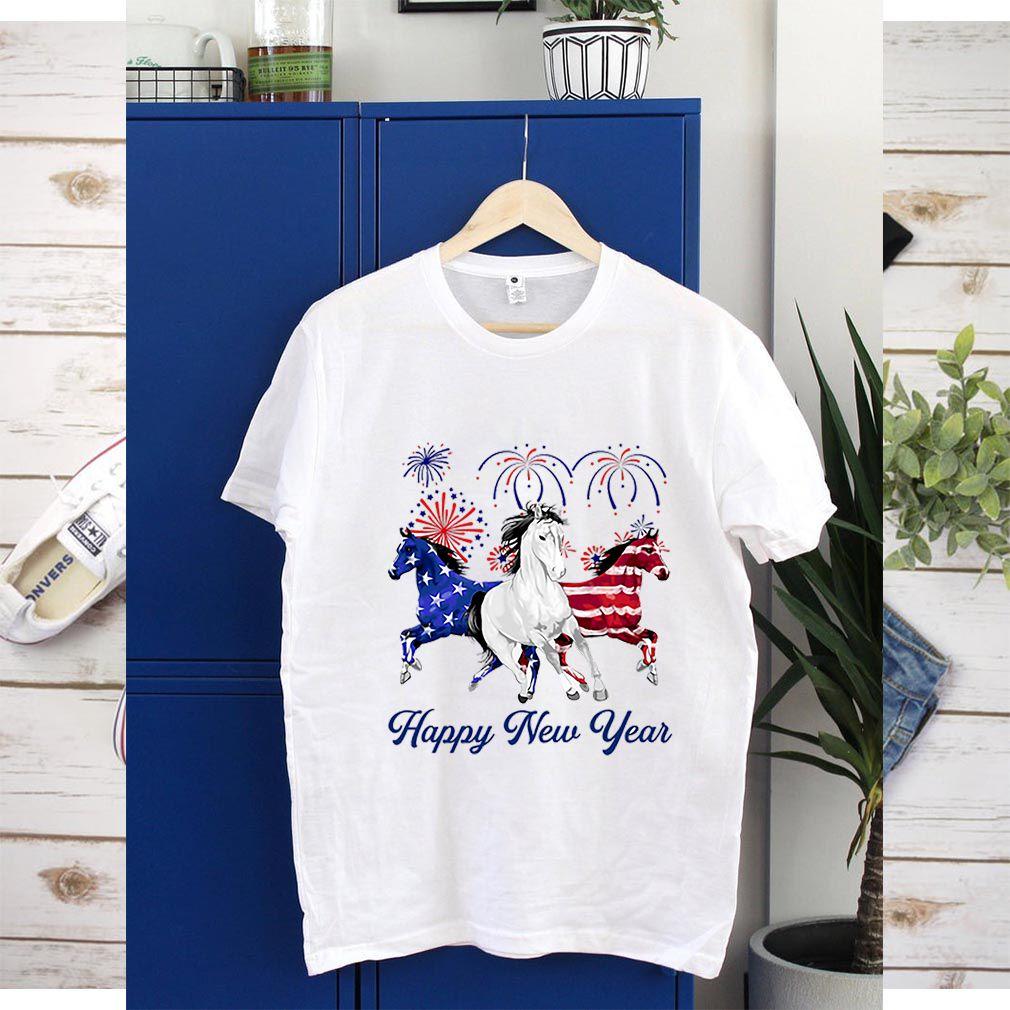Horses American Flag Happy New Year shirt