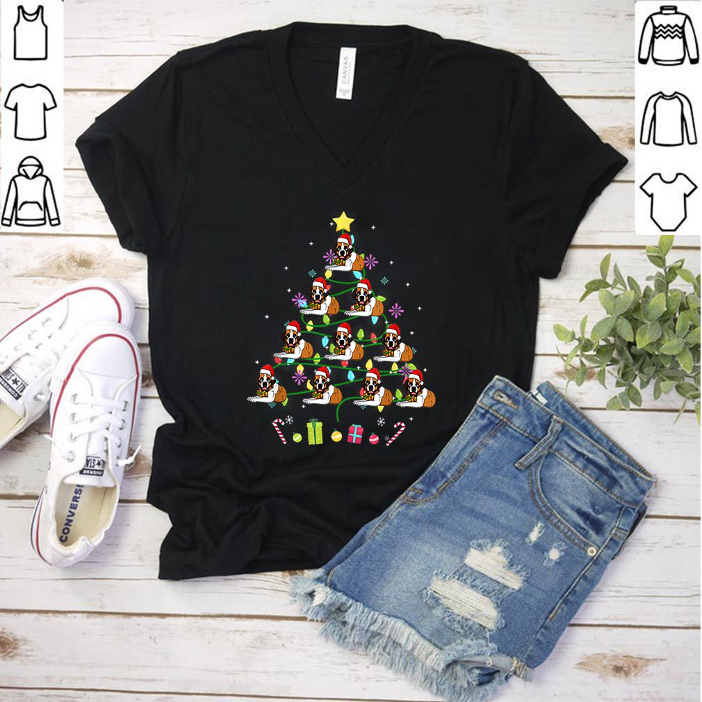 Hot Funny Saint Bernard Christmas Tree Color Led Light shirt