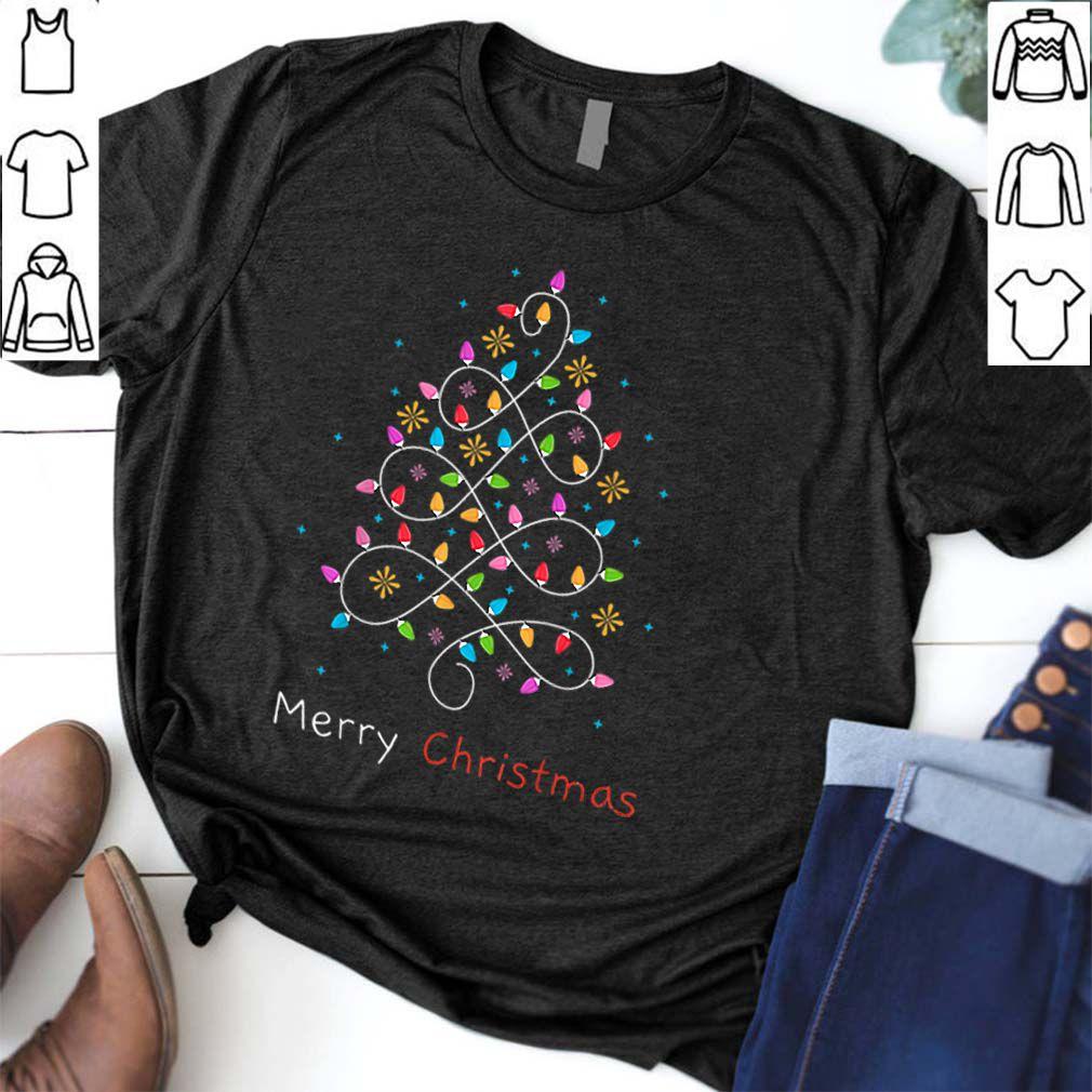 Hot Merry Christmas Lights Tree Xmas Family Holidays Gift Tee shirt
