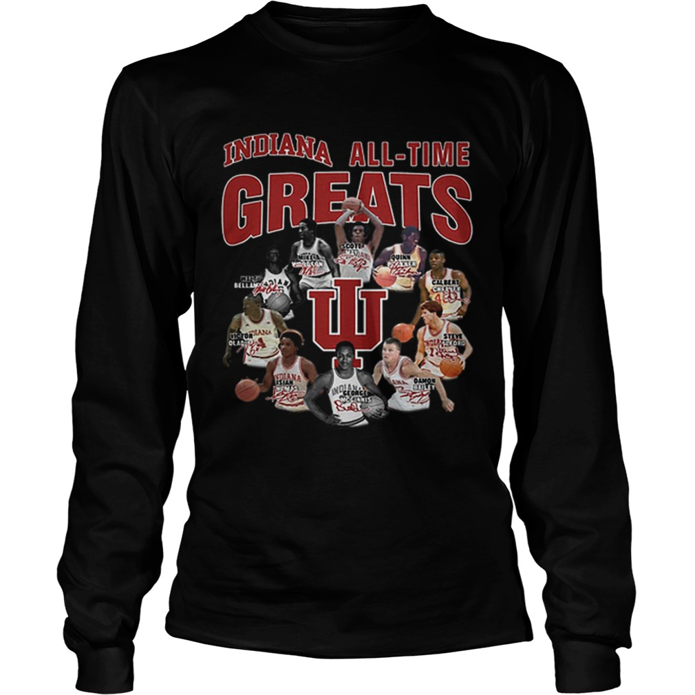 Indiana Hoosiers all time greats legend signatures  LongSleeve