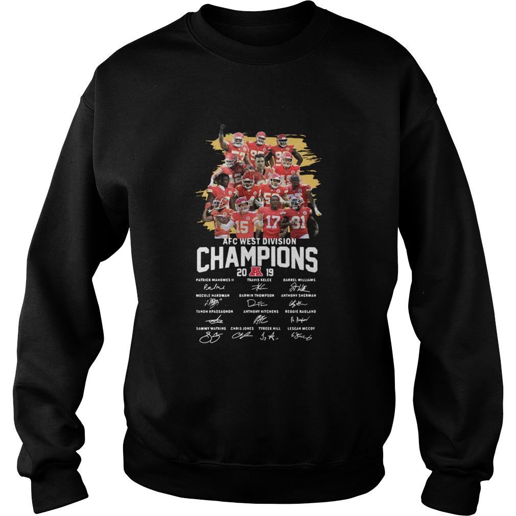 Kansas City Chiefs 2019 AFC West Division Champions Signatures  Sweatshirt
