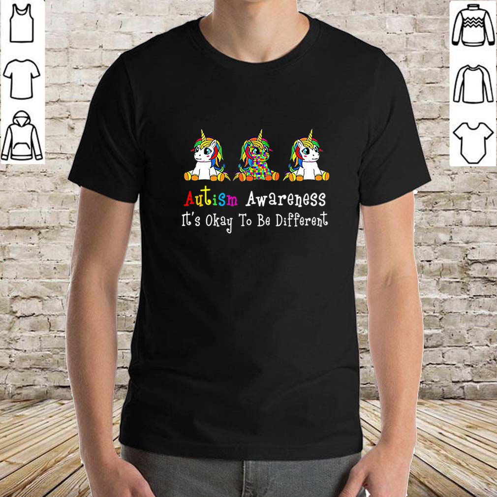 LGBT Unicorn Autism Awareness it's okay to be different shirt