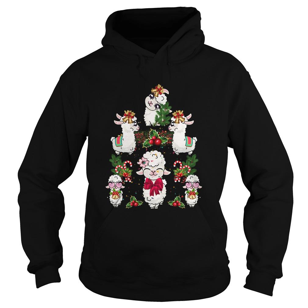 Llama Christmas Tree  Hoodie