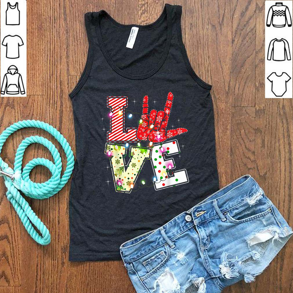Love Hand Sign Language Christmas Light Xmas shirt