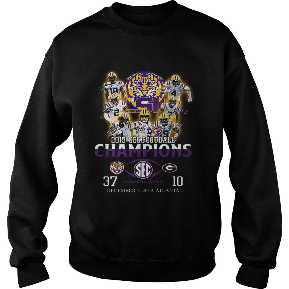 LSU Tigers signatures 2019 SEC Football Champions  Sweatshirt