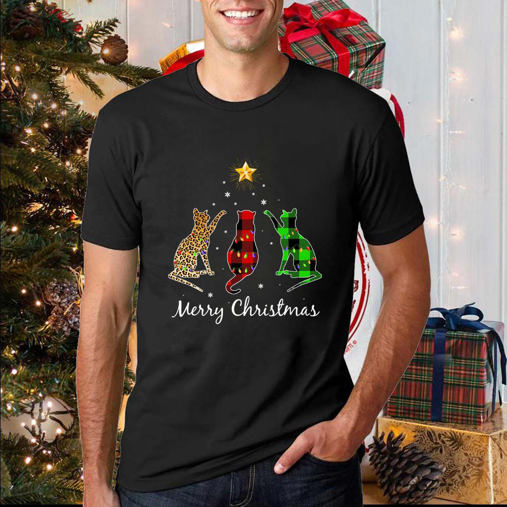 Merry Christmas Cat Buffalo Plaid Gift For Pet Lover T-Shirt