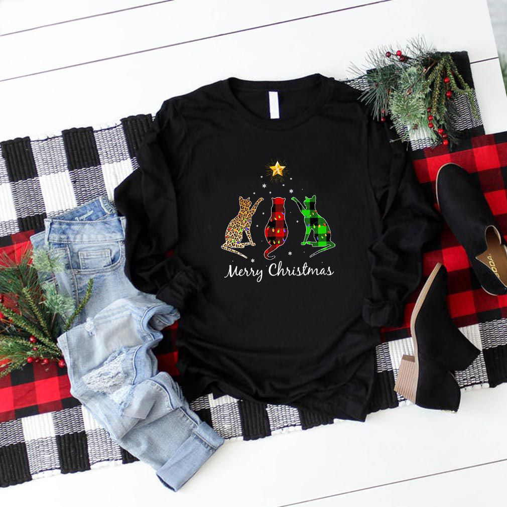 Merry Christmas Cat Buffalo Plaid Gift For Pet Lover T
