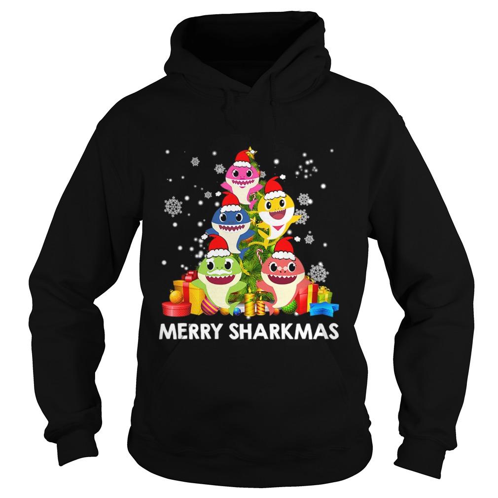 Merry Sharkmas Shark Santa Ugly Christmas Lights Boys Xmas  Hoodie