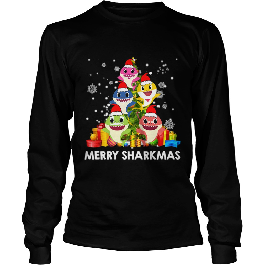 Merry Sharkmas Shark Santa Ugly Christmas Lights Boys Xmas  LongSleeve
