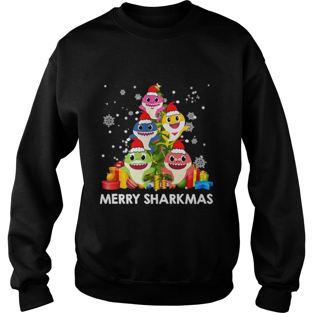 Merry Sharkmas Shark Santa Ugly Christmas Lights Boys Xmas  Sweatshirt