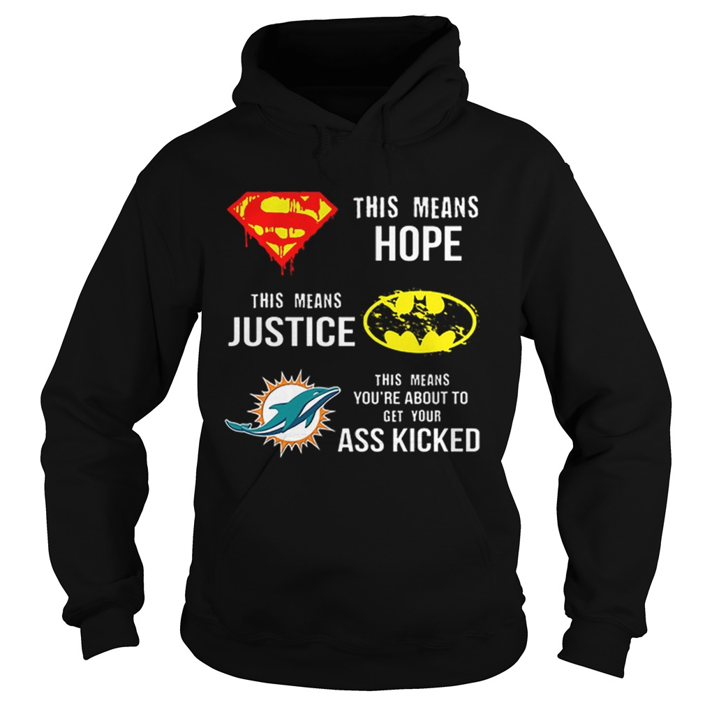 Miami Dolphins Superman means hope Batman your ass kicked  Hoodie