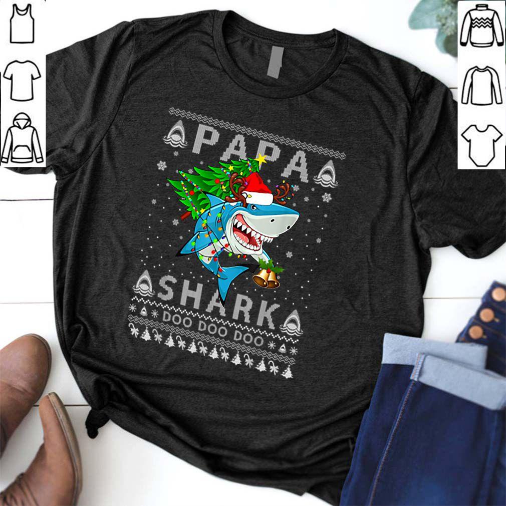 Nice Papa Shark Santa Christmas Family Matching Pajamas shirt