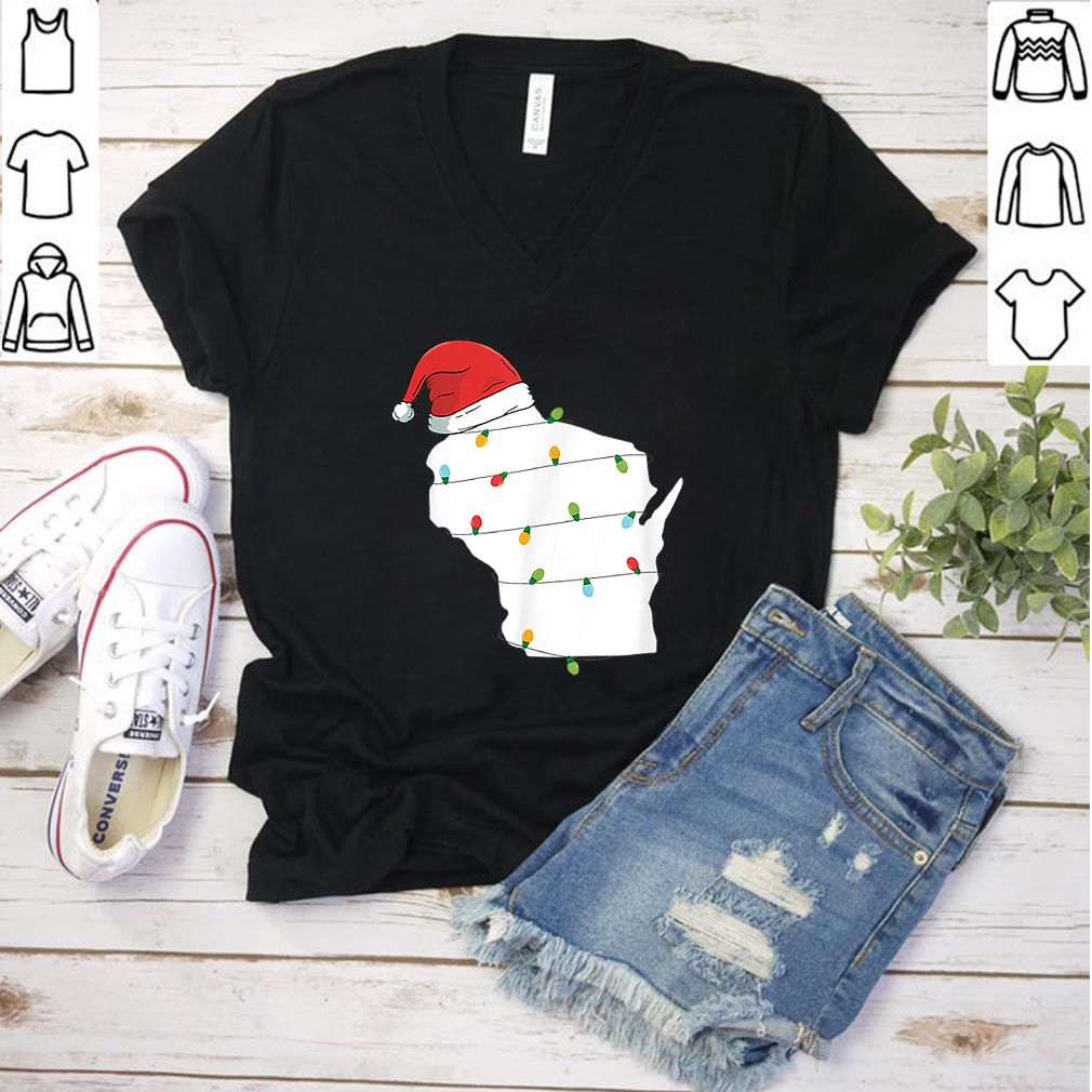 Nice Wisconsin Santa Hat Christmas Ornaments shirt